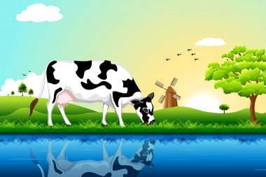 Illustration of cow grazing in field with tree and windmill in background stock vector