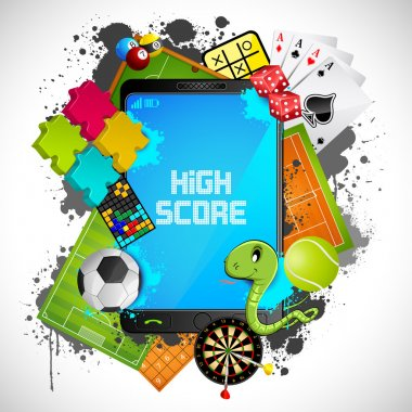 Illustration of different games with modern mobile phone stock vector