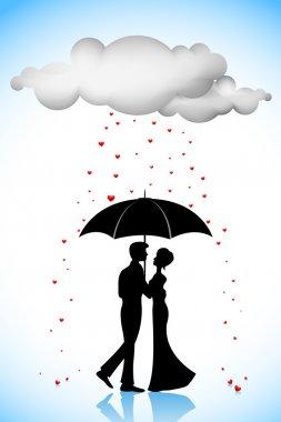 Illustration of couple standing under umbrella in love rain clip art vector