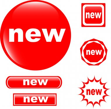 NEW button web glossy icon