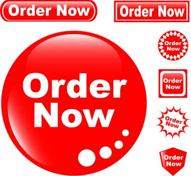Button ORDER NOW glossy icons set
