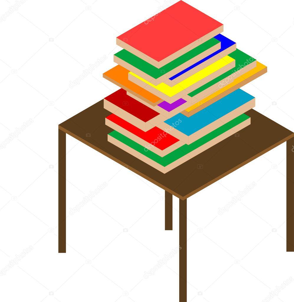 Libros sobre mesa marr n vector de stock 5709683 - Mesa de libro para salon ...