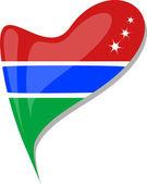 Fényképek Gambia szívében. Gambia nemzeti zászló ikonra. vektor