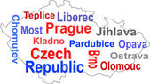 Fotografie Česká republika mapa a slova mrak s větších městech