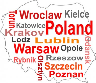Poland map and words cloud with larger cities