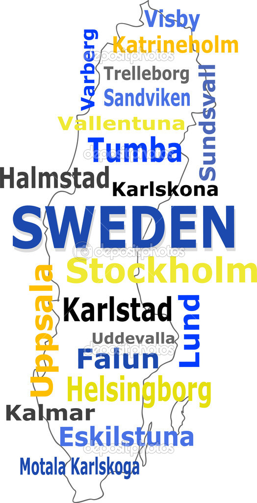 Sweden Map Words Cloud With Larger Cities Stock Vector - Karlskoga sweden map
