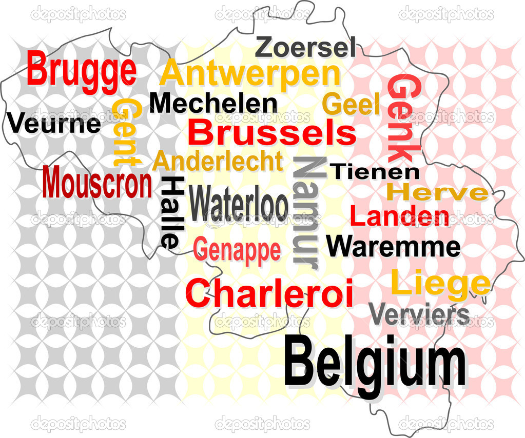 Belgium map and words cloud with larger cities Stock Vector