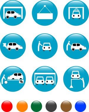 Car Auto service blue button set icon