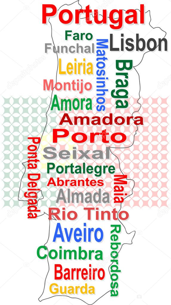 Portugal Map And Words Cloud With Larger Cities Stock Vector - Portugal map with cities