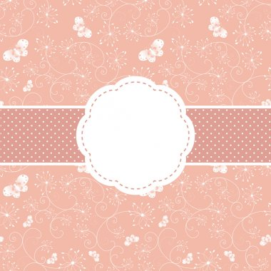 Springtime pink floral and butterfly greeting card