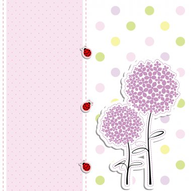 Card design purple flower,ladybird on polka dot background