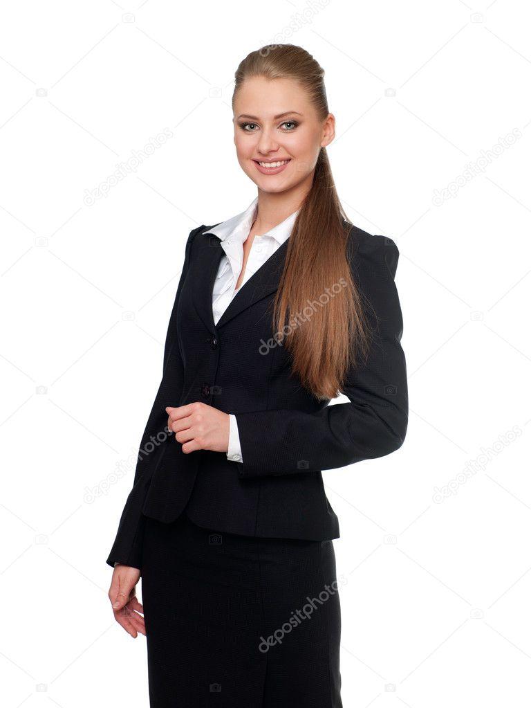Vrouw manager in een pak — Stockfoto © fotoluxstudio #5528362