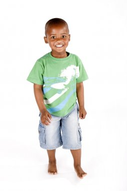 Cute happy 3 year old black or African American boy smiling