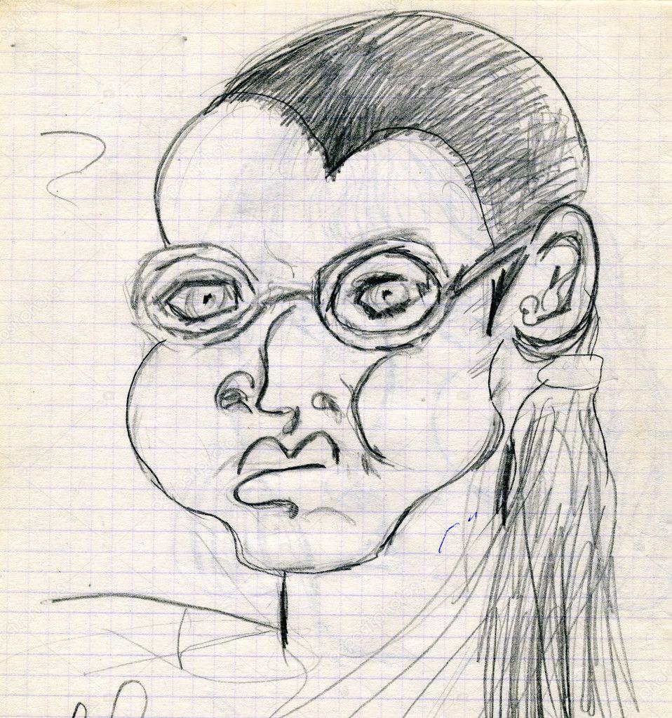 Lápis de desenho de mulher em copos desenhado por uma criança no bloco de notas