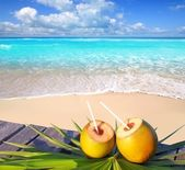 Photo Caribbean paradise beach coconuts cocktail