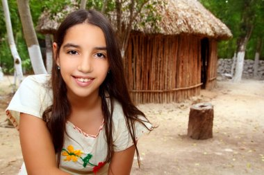 Mexican indian Mayan latin girl in jungle cabin house