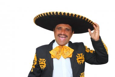 Charro mariachi portrait singing shout on white