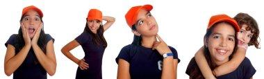 Beautiful Latin teen hispanic girl mixed gestures