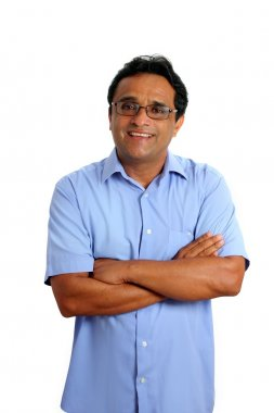 Indian latin businessman glasses blue shirt on white