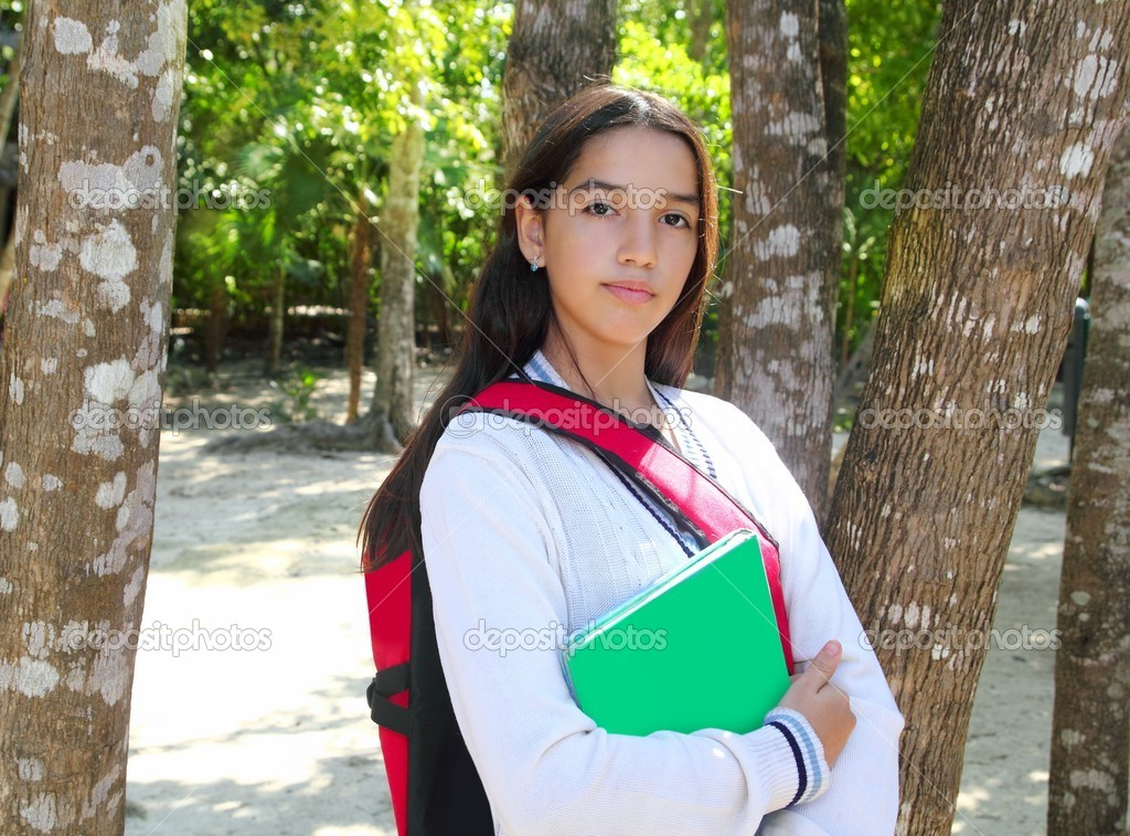 Hispanic latin teenager girl backpack in Mexico park