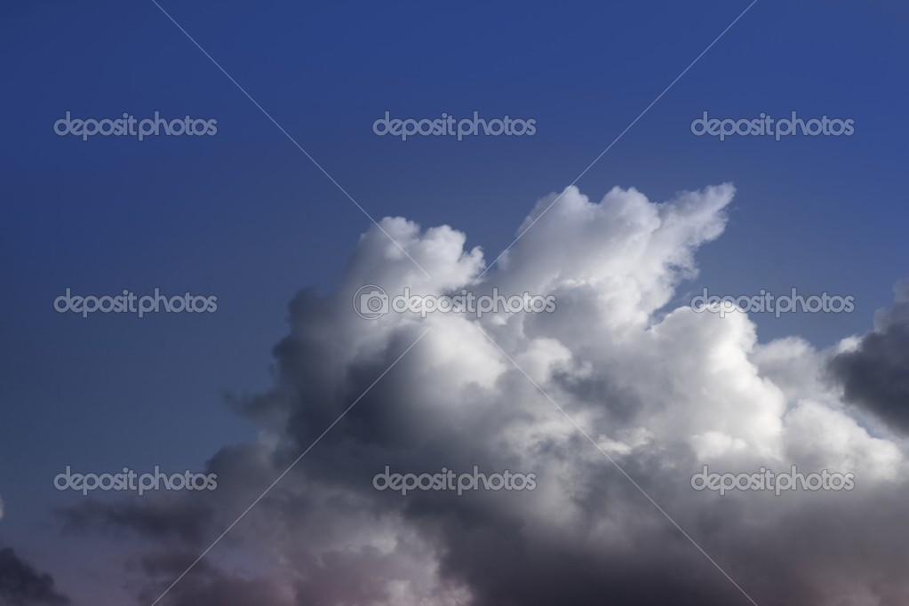 Dramatic clouds skyscape with organic cumulus