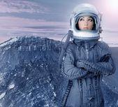Fotografie Astronaut Frau futuristisch Mond Raum Planeten