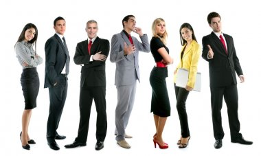 Business team group crowd full length