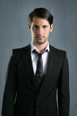 Fashion trendy elegant young black suit man