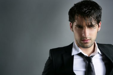 Fashion trendy suit young man hairstyle portrait