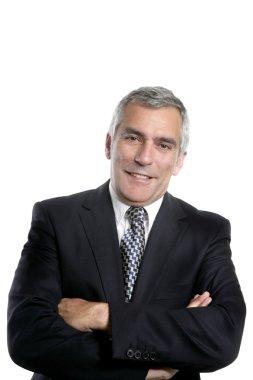 Happy senior businessman smiling gray hair black suit white background stock vector