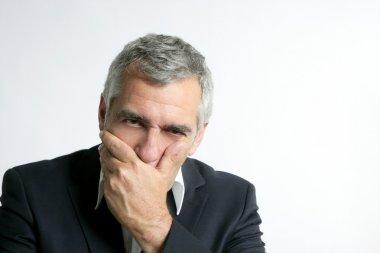Gray hair sad worried senior businessman expertise man isolated on white stock vector