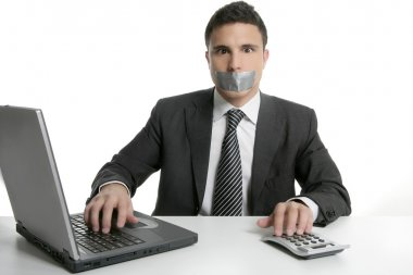 Silence with tape on mouth, businessman office