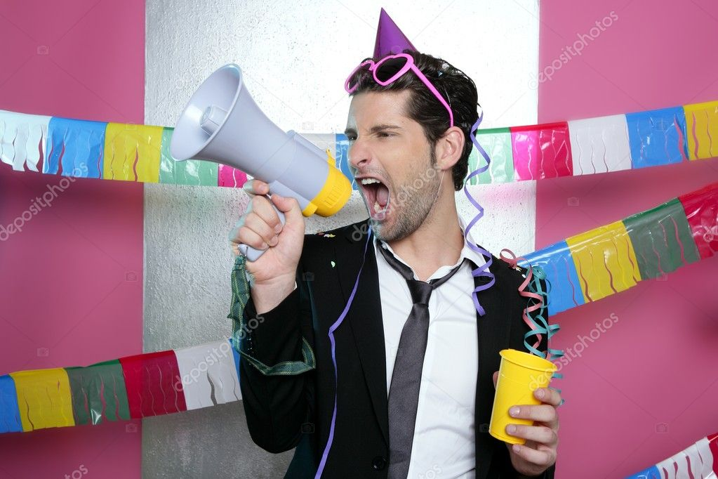 Loudspeaker crazy party man shouting happy