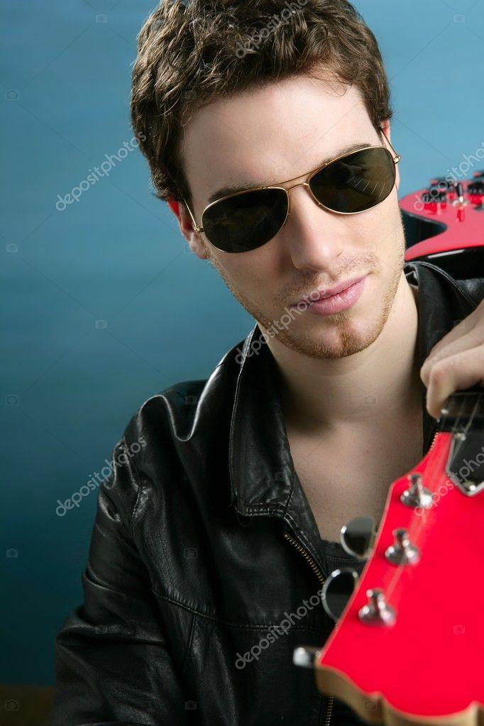 Cuero Foto Star Rock Sol — Hombre Guitarra De Gafas Chaqueta 9ED2IH