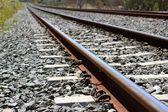 Fotografie Železná rezavé vlak železniční detail přes tmavé kameny