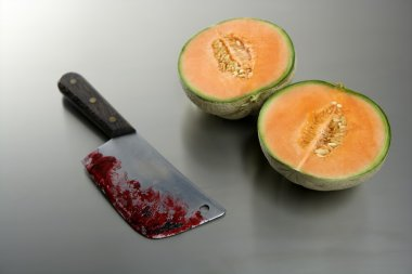 Melon fruit killed by a knife