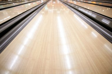 Bowling street wooden floor perspective