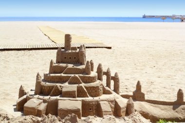 Beach sand castle summer vacation street art