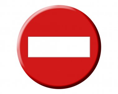 Wrong direction, do not enter red round signal