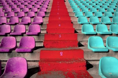 Stadium colorful grandstand stands stairway