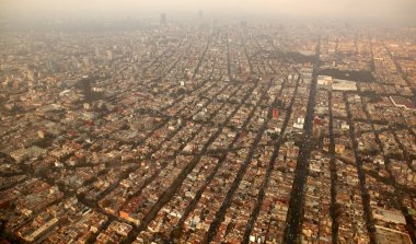 Mexico df city town aerial view from airplane