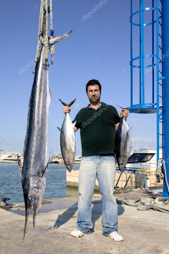 Angler fish catch albacore tuna and spearfish
