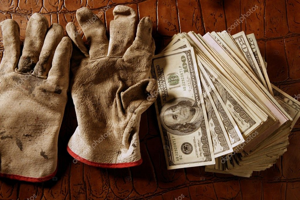 Cleaning black money dollar metaphor, dirty gloves