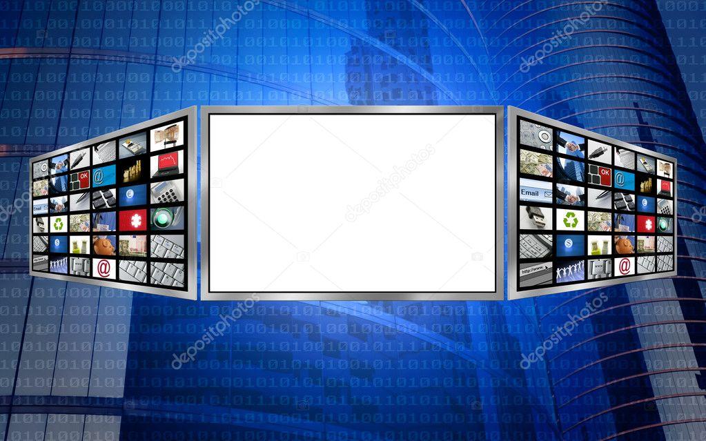 Global 3d screen copy space tech concept