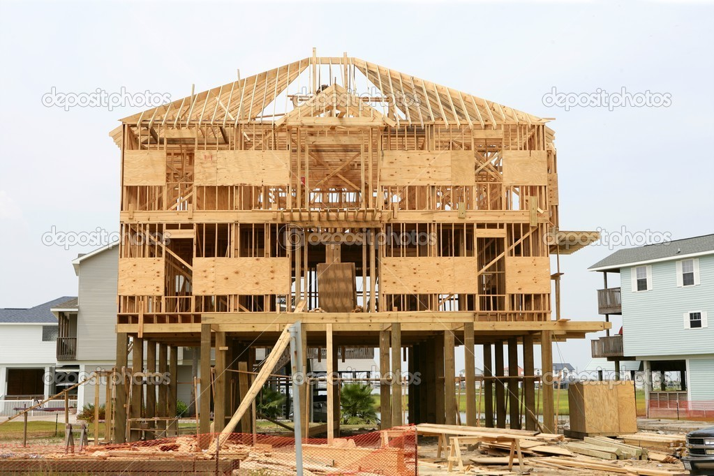 Wonderful Wood House Contruction, American Wooden Structure U2014 Stock Photo