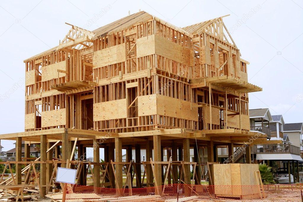 construcción de casa de madera, estructura de madera americana ...