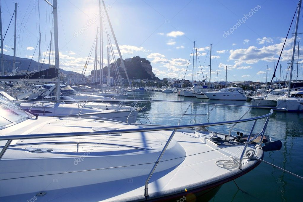 Beautiful marina, sailboats and motorboats