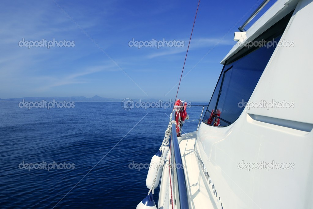 Motorboat yacht blue ocean sea vacation
