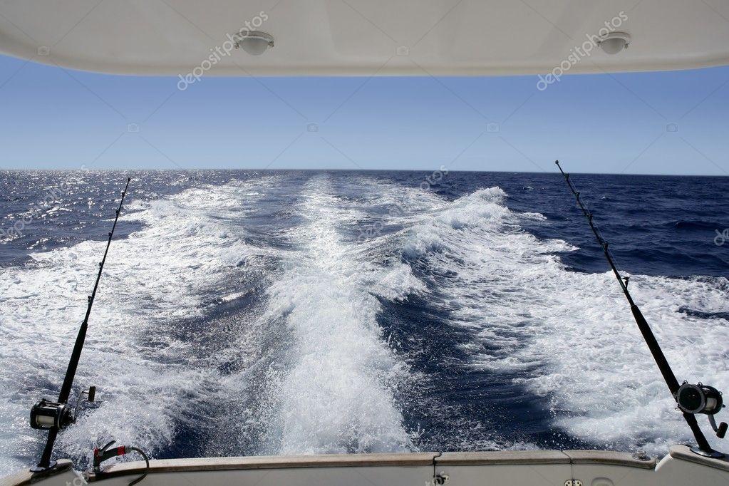 Boat trolling fishing on Mediterranean