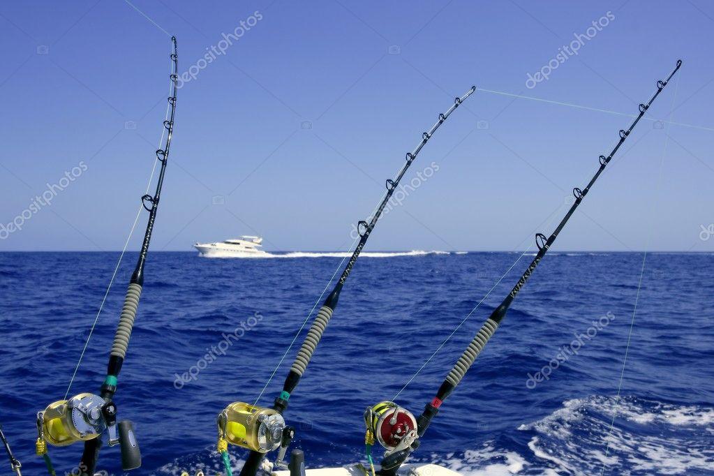Blue sea and sky in a big game tuna fishing day